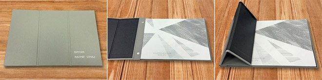 Interscrew binder with 'iPad case' style folding cover