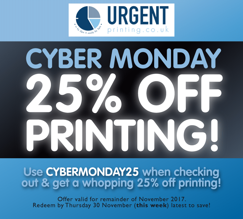 Get 25 Percent Off Printing – Cyber Monday Deal!