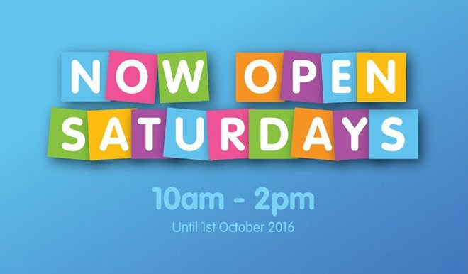 Now Open on Saturdays!