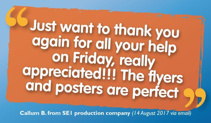 'Perfect' Poster & Flyer Printing for SE1 Production Company