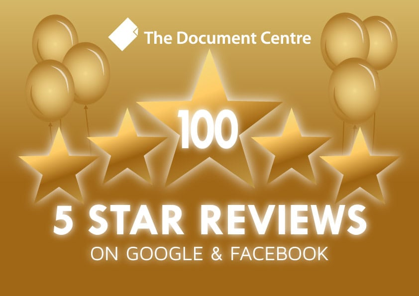 100 Five Star Reviews for The Document Centre!