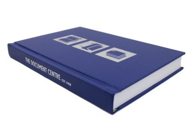Hard Binding in Blue with Silver Digital Foiling to Front and Spine Lettering 2
