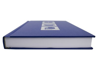 Hard Binding in Blue with Silver Digital Foiling to Front and Spine Lettering 3