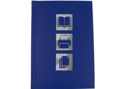 Hard Binding in Blue with Silver Digital Foiling to Front and Spine Lettering 4