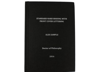 Hard Bound Thesis in Black Buckram cloth with Spine and Front cover lettering in Silver
