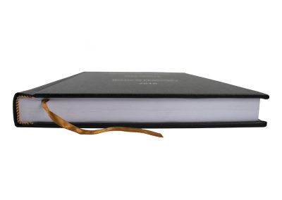 Hard Bound Thesis in Black Buckram cloth with Spine and Front cover lettering in Silver + Headbands and Register Ribbon 2
