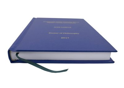 Hard Bound Thesis in (King's, UoL) Blue Buckram cloth with Spine and Front cover lettering in Gold + Headbands and Register Ribbon 2