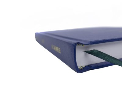 Hard Bound Thesis in (King's, UoL) Blue Buckram cloth with Spine and Front cover lettering in Gold + Headbands and Register Ribbon 3