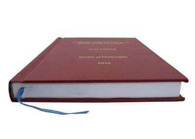 Hard Bound Thesis in Red Buckram cloth with Spine and Front cover lettering in Gold + Headbands and Register Ribbon 2