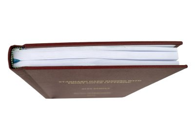 Hard Bound Thesis in Red Buckram cloth with Spine and Front cover lettering in Gold + Headbands and Register Ribbon 4