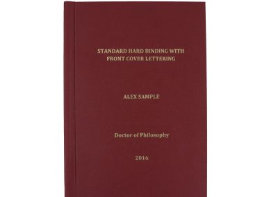 Hard Bound Thesis in Red Buckram cloth with Spine and Front cover lettering in Gold + Headbands and Register Ribbon