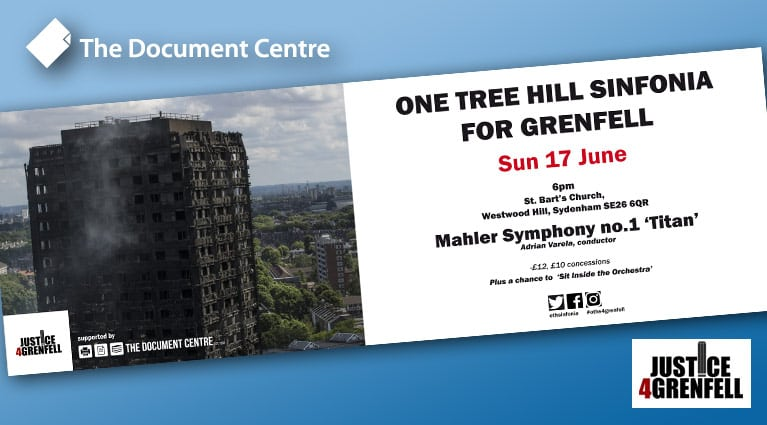 London Concert in aid of Justice4Grenfell – with Banner Support by The Document Centre