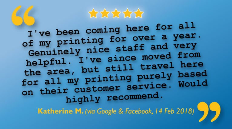 5 Stars & a Recommendation for Printing & Customer Service