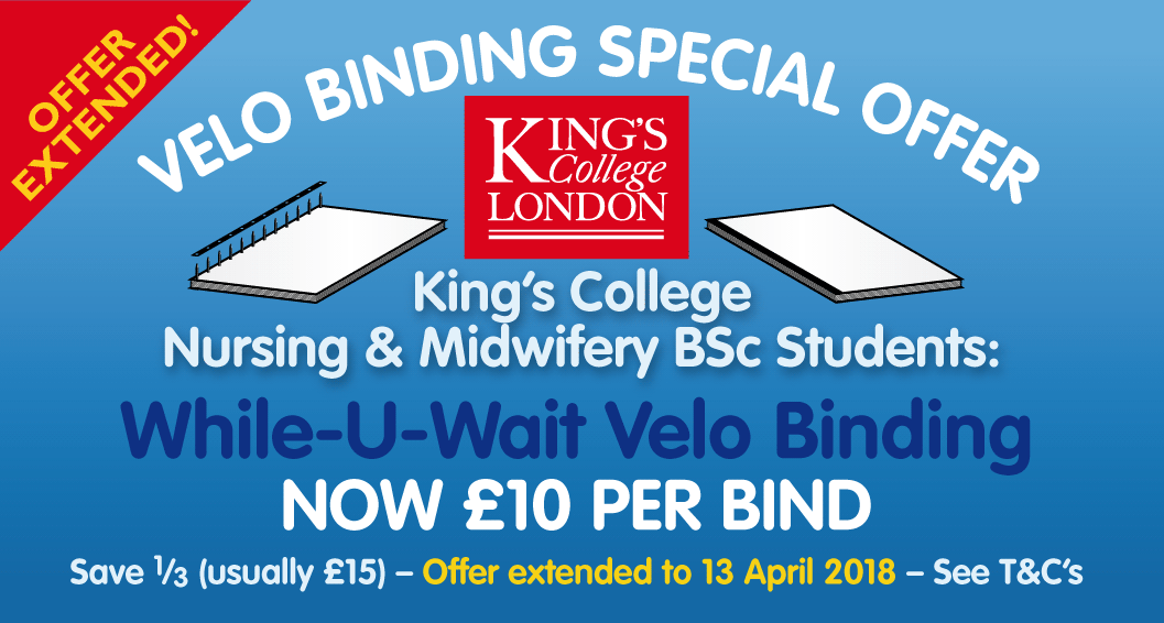 KCL Velo Binding Special Offer – EXTENDED!