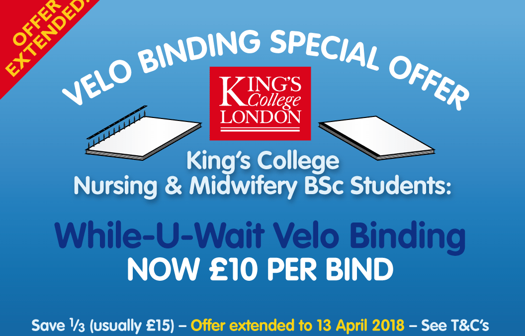 KCL Nursing or Midwifery BSc Student? Special Offer on Velo Binding!