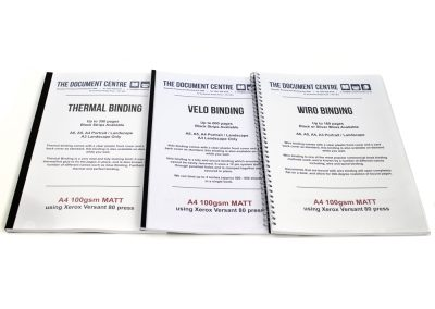 Simple Bindings, Thermal, Velo and Wiro Binding