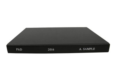 Soft Bound Thesis in Black Buckram cloth with Spine lettering in Silver 2