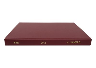 Soft Bound Thesis in Red Buckram cloth with Spine lettering in Gold 2